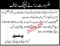 Government Gorden College Rawalpindi Teachers Jobs
