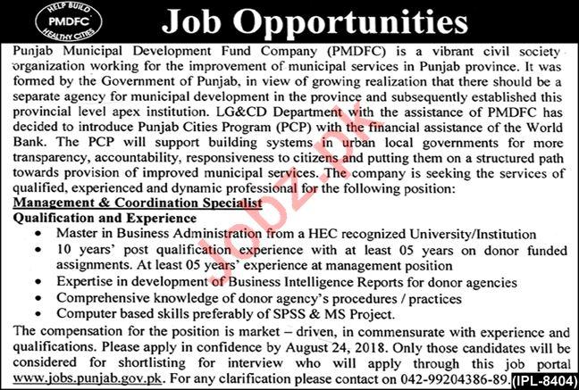 PMDFC Lahore Management & Coordination Specialist Jobs 2018