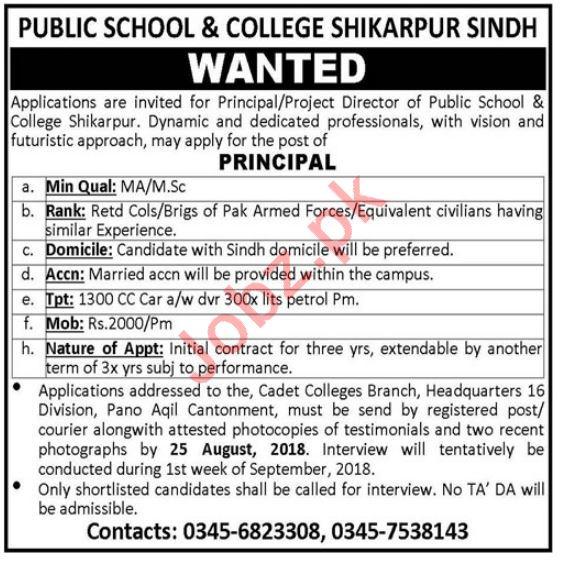 Public School & College Shikarpur Jobs 2018 for Principal