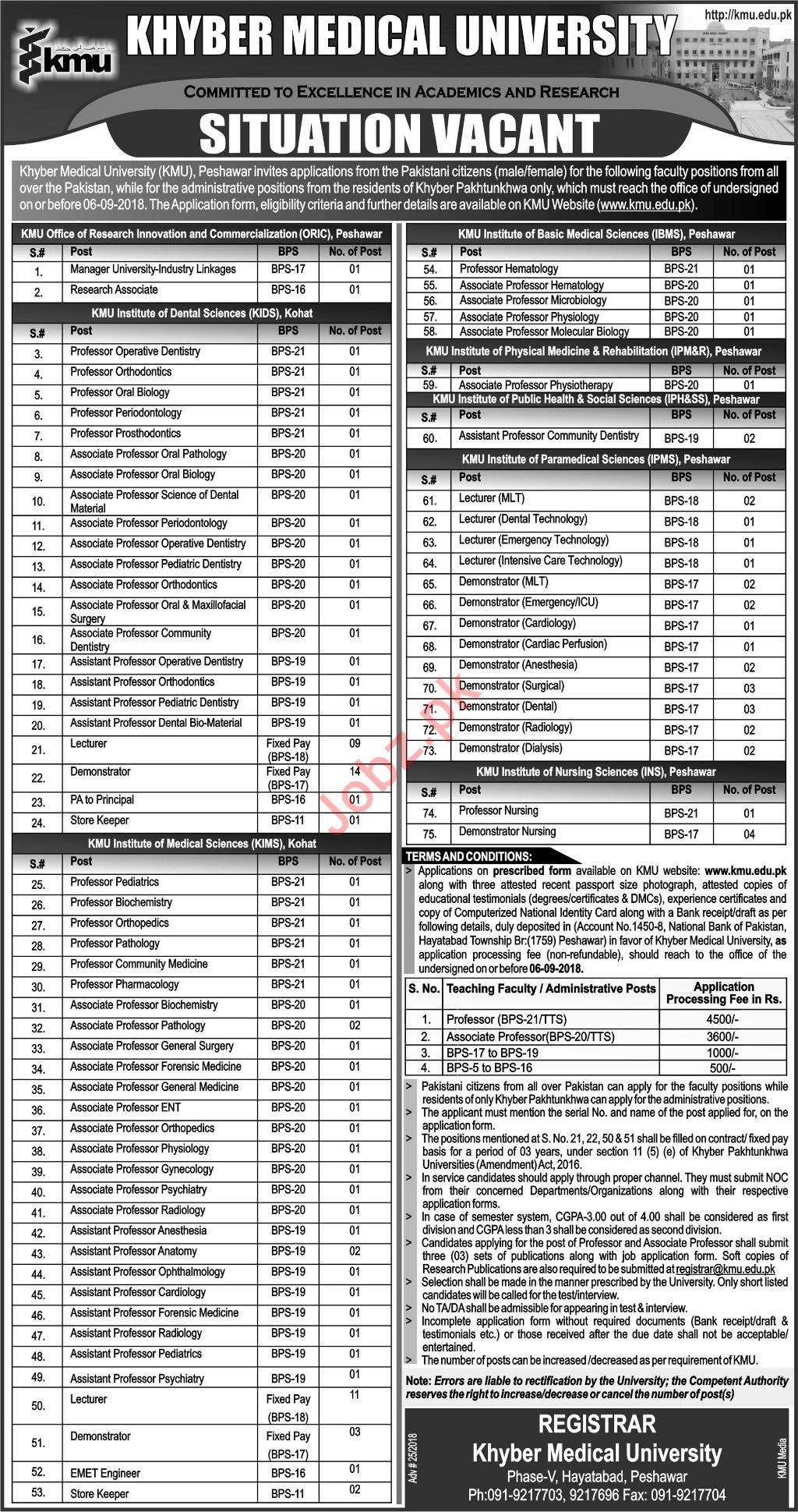 KMU Institute of Nursing Sciences INS Peshawar Jobs 2018