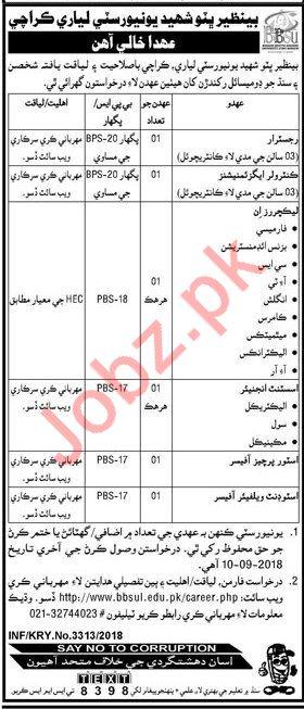 Benazir Bhutto Shaheed University Lyari Karachi Jobs 2018