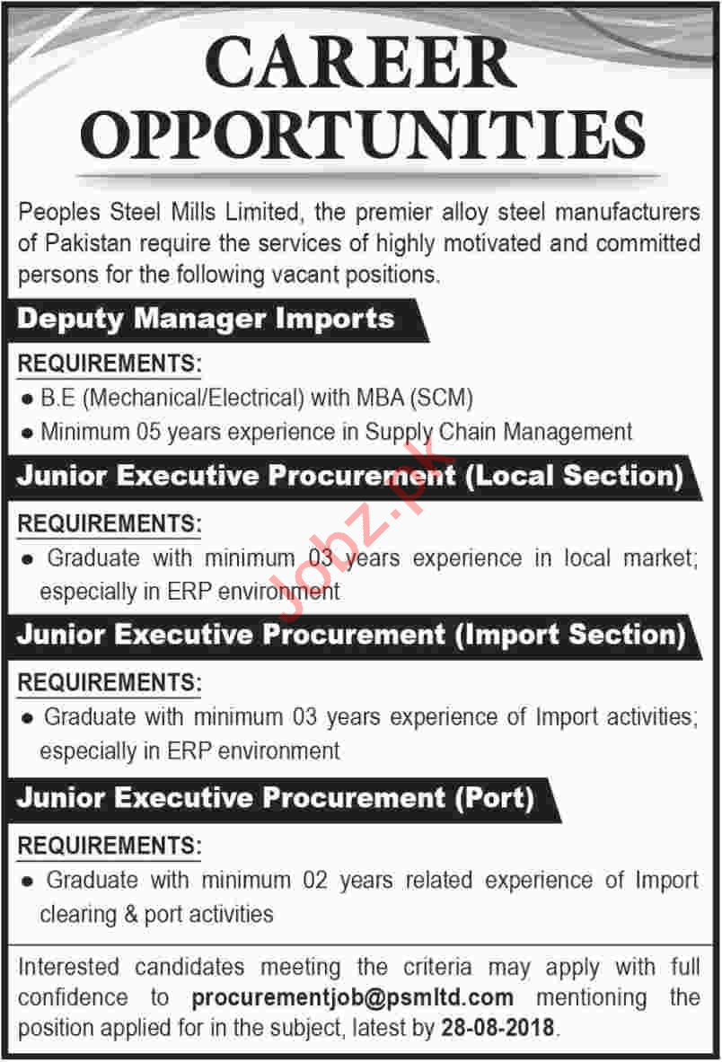 Peoples Steel Mills Karachi Jobs 2018 for Managers