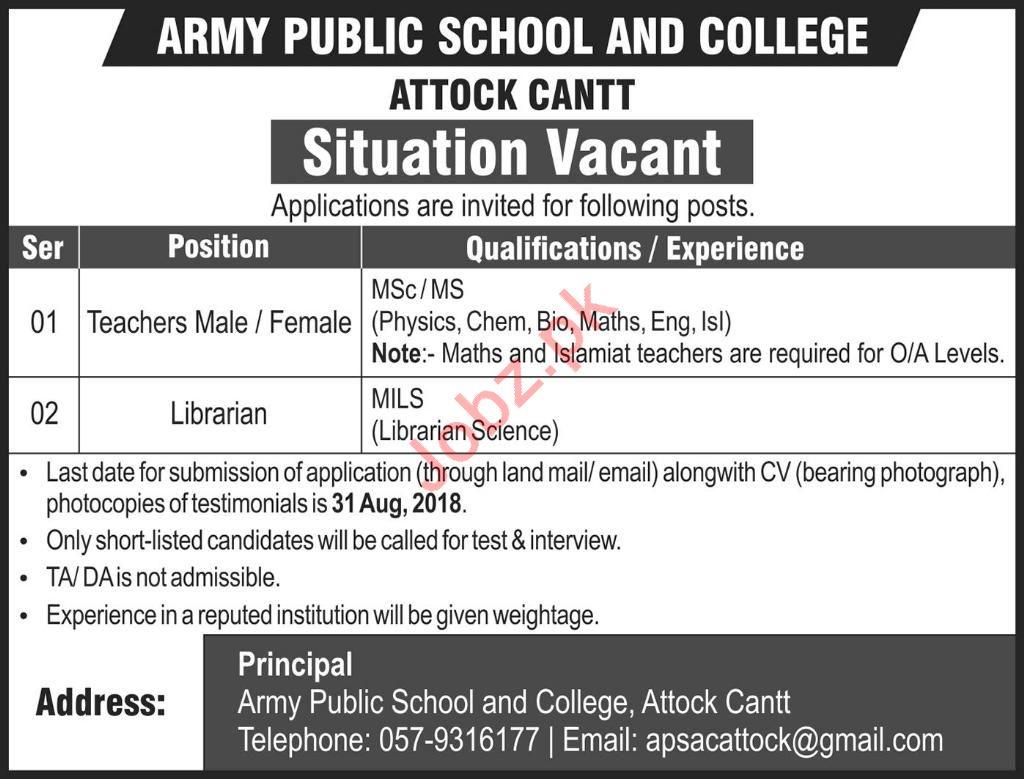 Army Public School & College APS&C Attock Cantt Jobs 2018