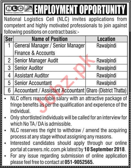 National Logistics Cell NLC Rawalpindi Jobs 2018