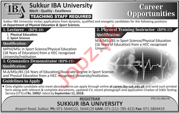 Sukkur IBA University Jobs 2018 for Lecturers & Instructors