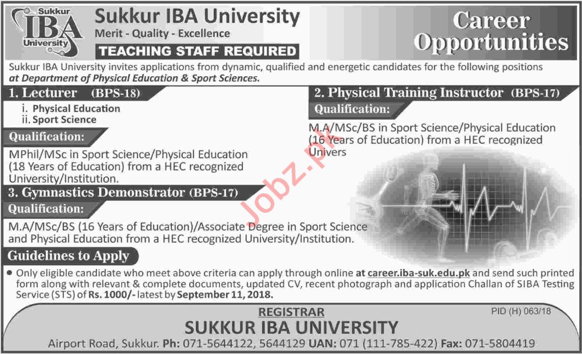 Sukkur IBA University Teaching Jobs 2018 in Sukkur