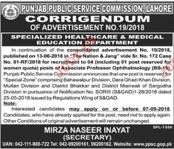 Associate Professor Opthalmology Jobs in PPSC Lahore