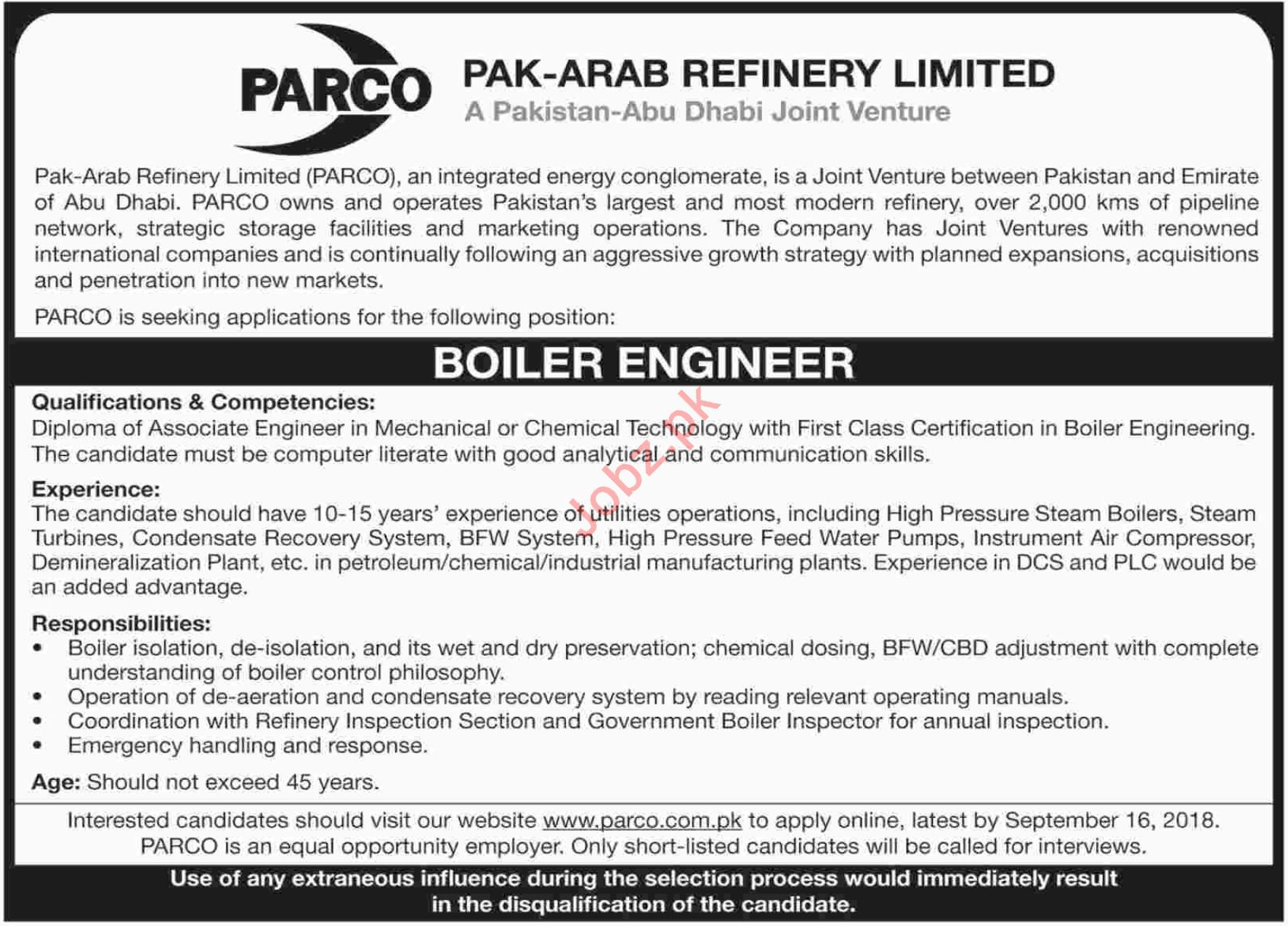 Boiler Engineer for Pak Arab Refinery Limited PARCO