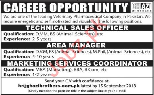 Technical Sales Officer, Area Manager & Coordinator Jobs
