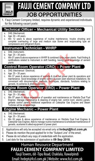 Fauji Cement Company Ltd Technical Jobs 2018