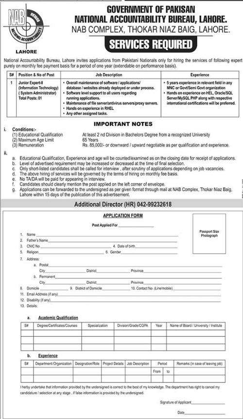 Junior Expert IT Jobs in National Accountability Bureau NAB