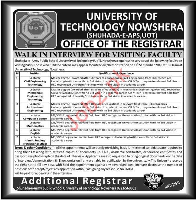 University of Technology UOT Nowshera Jobs 2018 for Lecturer
