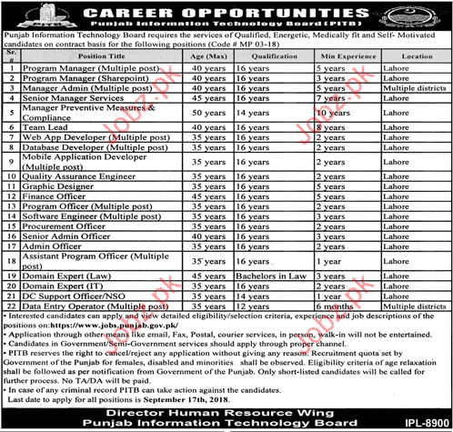 Program Manager Jobs in Punjab Information Technology Board