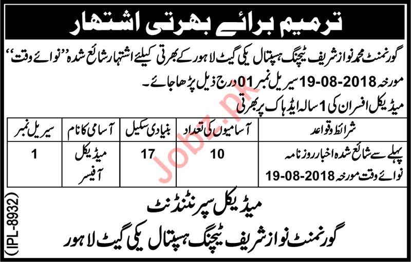Govt Nawaz Sharif Teaching Hospital Lahore Jobs 2018