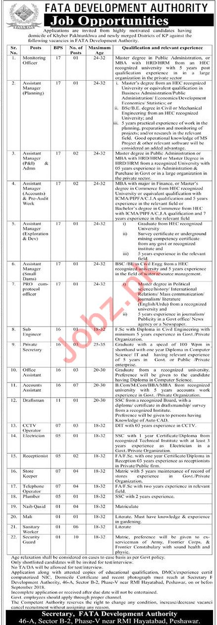 Careers Opportunities at FATA Development Authority
