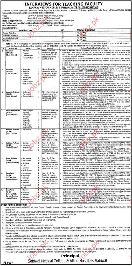 Teaching jobs in Sahiwal Medical College