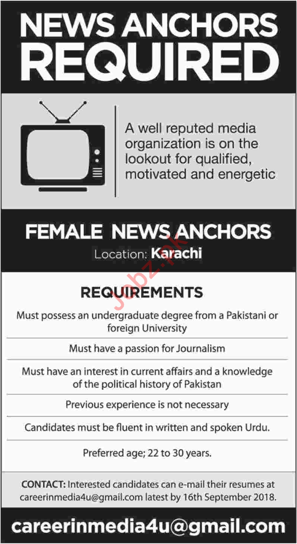 Female News Anchors for Media Organization