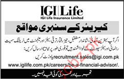 IGI Life insurance Limited Sales Support Jobs 2018