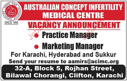 Australian Concept Infertility Medical Centre Markeitng Jobs