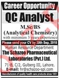 Schazoo Pharmaceutical Laboratories Jobs for QC Analyst