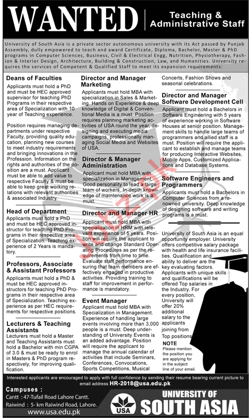 University of South Asia Teaching Staff Required