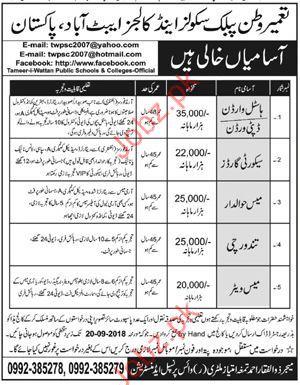 Tameer-i-Wattan Public School & Colleg Hostel Warden Jobs 20