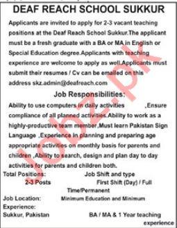 Deaf Reach School Sukkur Jobs 2018 for Teachers