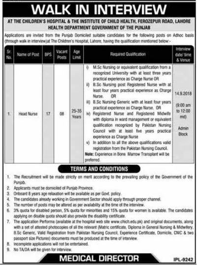Children Hospital Lahore Jobs 2018 for Head Nurses