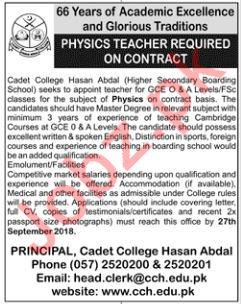 Physics Teachers for Cadet College Hasan Abdal
