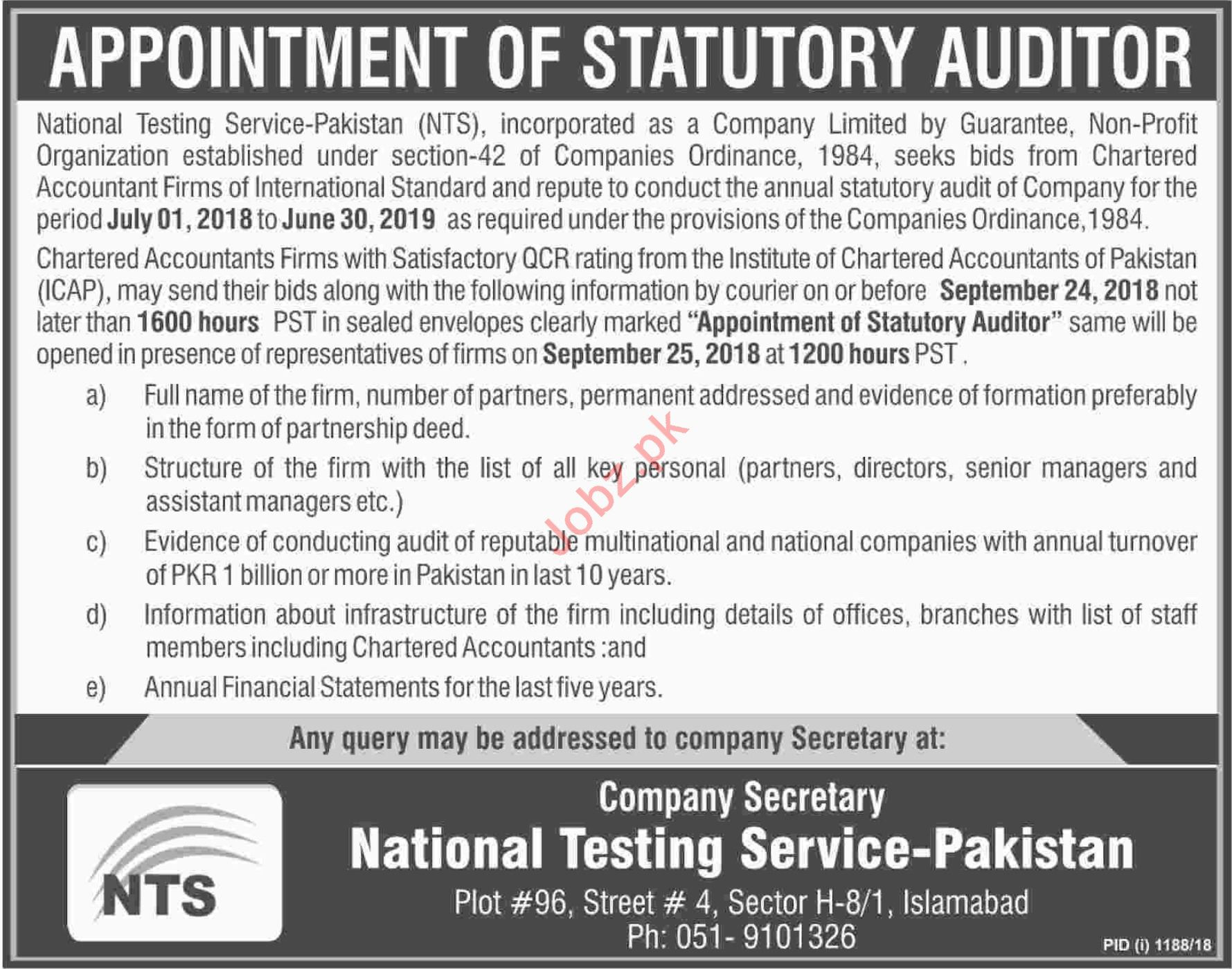 Appointment of Statutory Auditor at NTS