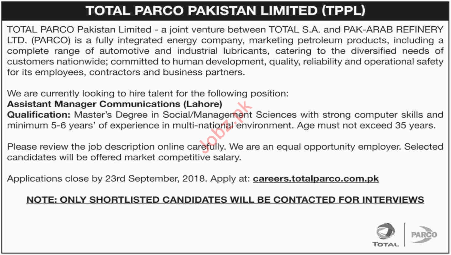 TPPL Assistant Manager Communication Jobs