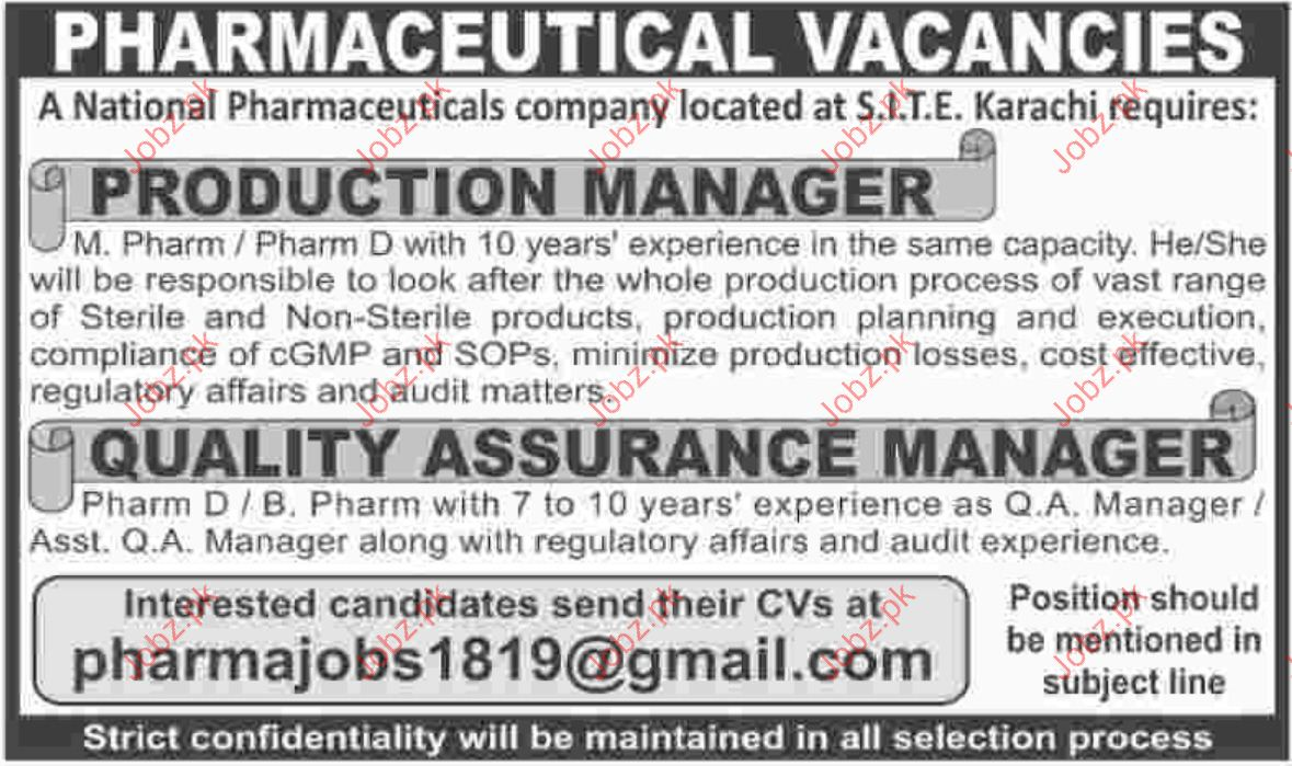 Production Manager Jobs in National Pharmaceutical  Company