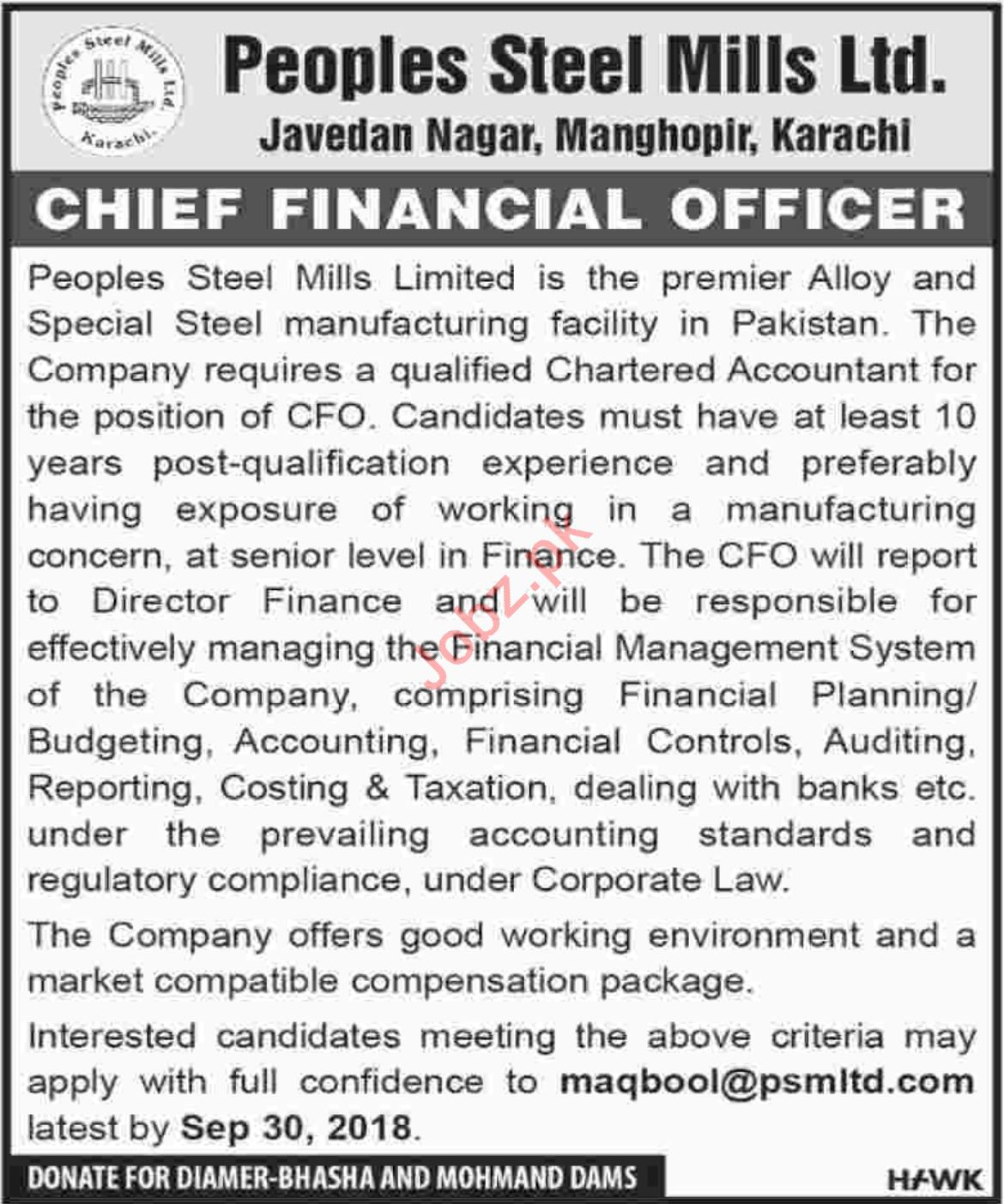 Peoples Steel Mills Ltd Chief Financial Officer Jobs