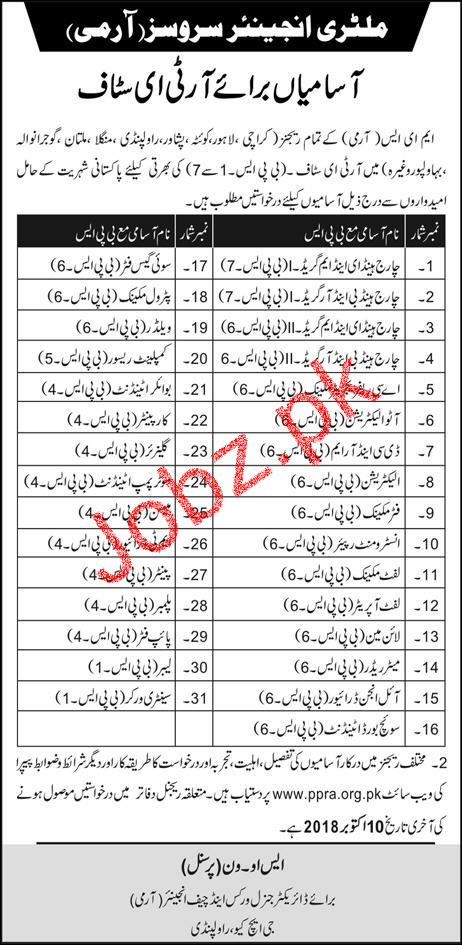 Military Engineering Services Army Jobs