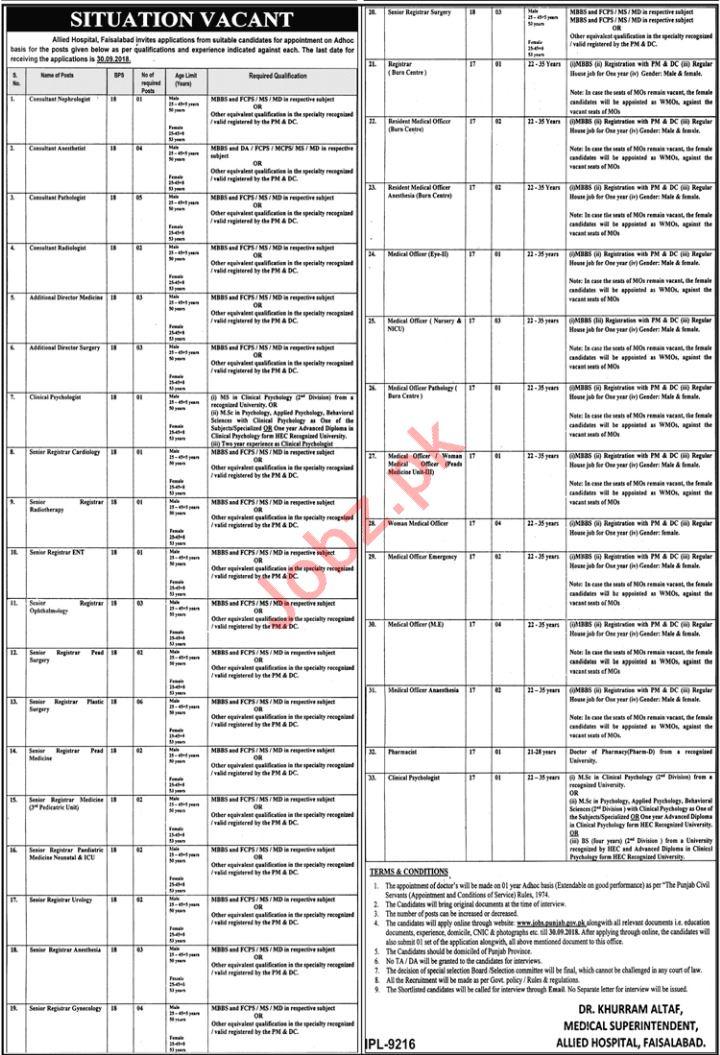 Allied Hospital Faisalabad Consultants Jobs