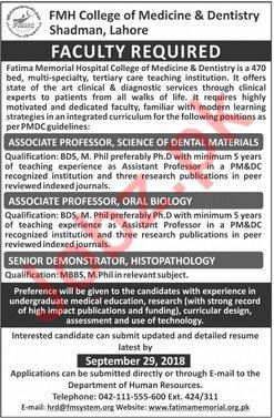 FMH College of Medicine Dentistry Associate Professor Jobs