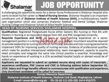 Shalamar Hospital Head of Nursing Services Jobs