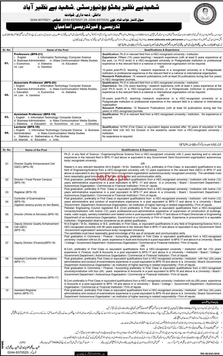 Shaheed Benazir Bhutto City University Jobs