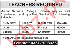 Teachers for Mulhal Science College Sohawa