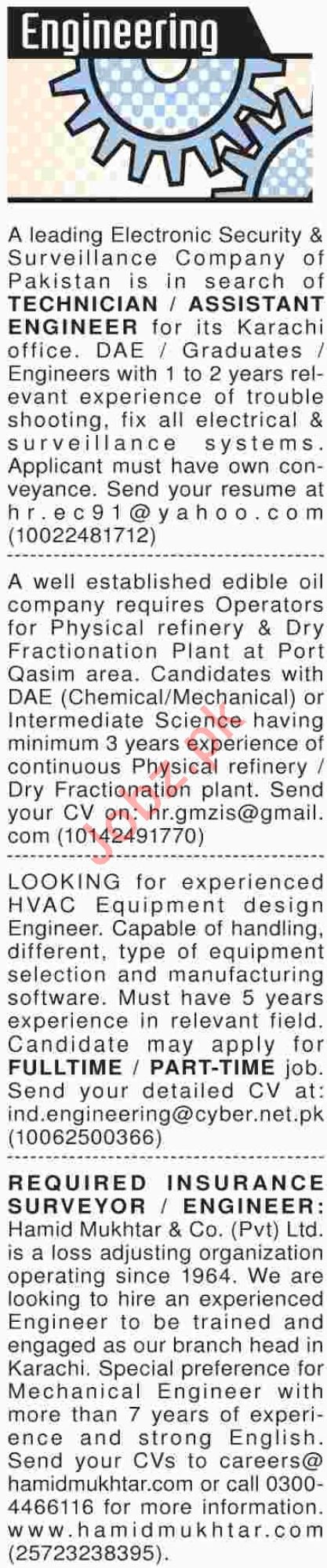 Dawn Sunday Classified Ads for Engineering Staff