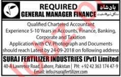 General Manager Finance Job 2018 in Lahore
