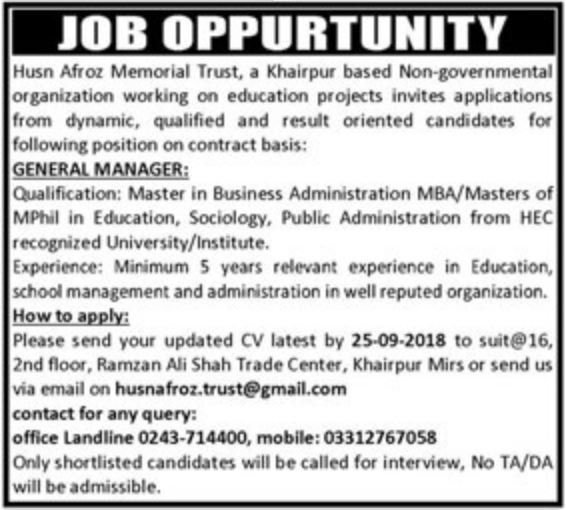 Husn Afroz Memorial Trust Khairpur NGO Jobs for Managers