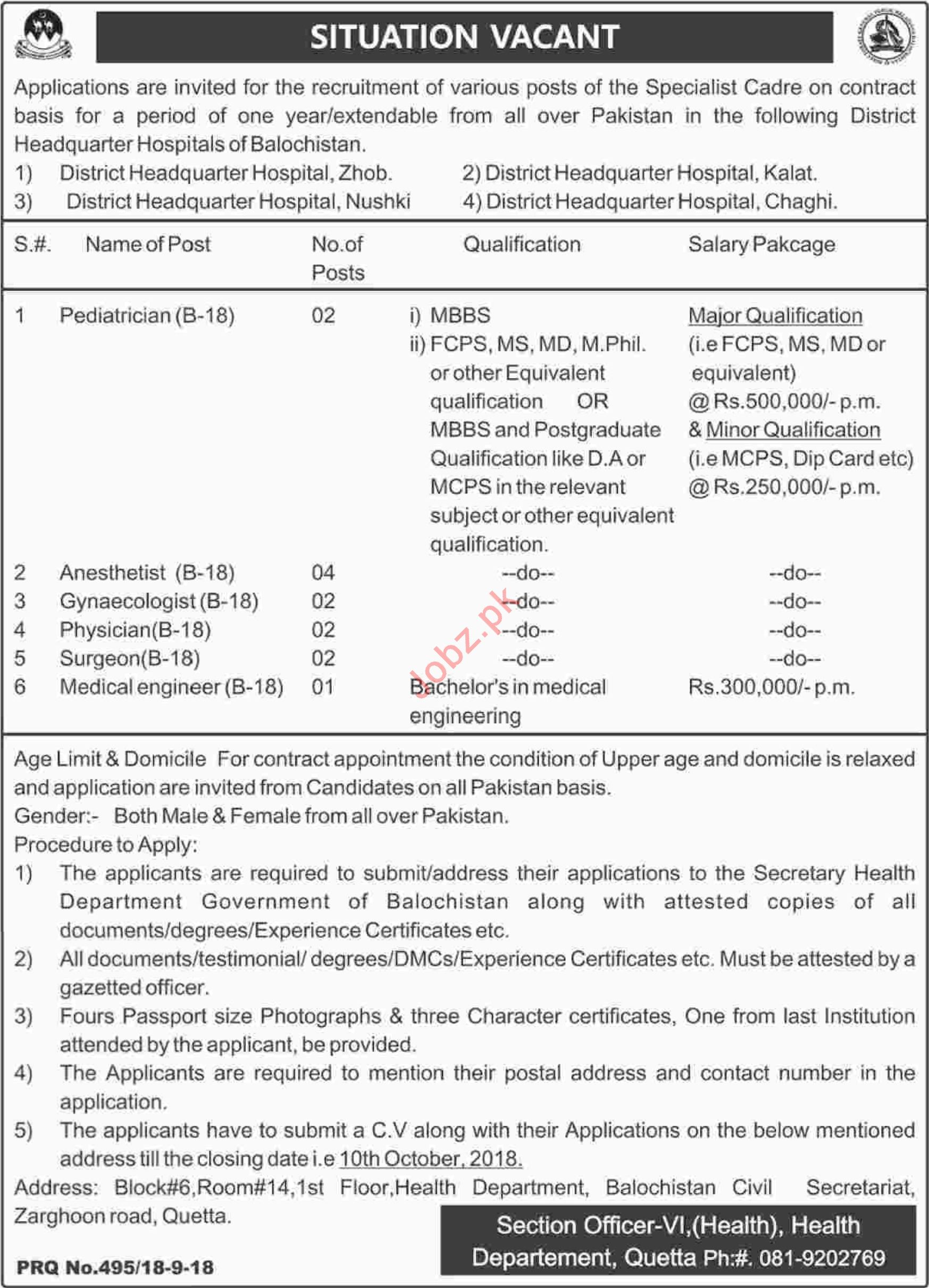 DHQ Hospital Balochistan Jobs for Specialist Cadre Doctor