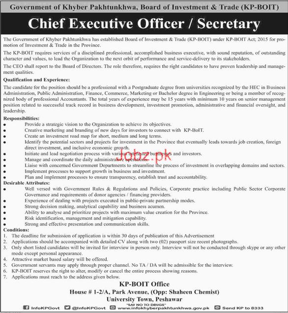 Khyber Pakhtunkhwa Board of Investment & Trade KP-BOIT Jobs