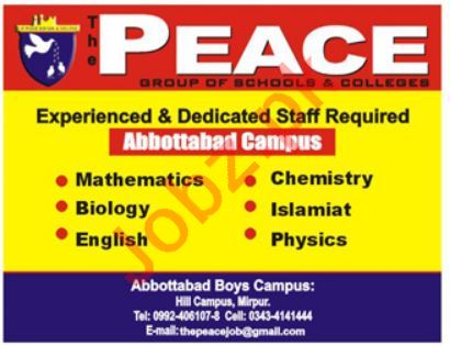 The peace Group of Schools & Colleges Teacher Jobs