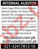Internal Auditor for Adam Sugar Mills Ltd