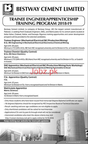 Bestway Cement Limited Trainee Engineers  Jobs