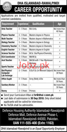 Defence Housing Authority DHA Islamabad-Rawalpindi Jobs