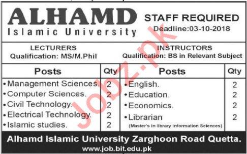 Alhamd Islamic University Faculty Jobs 2018 in Quetta