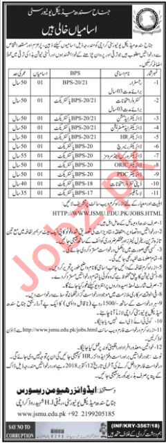Jinnah Sindh Medical University JSMU Jobs 2018 in Karachi